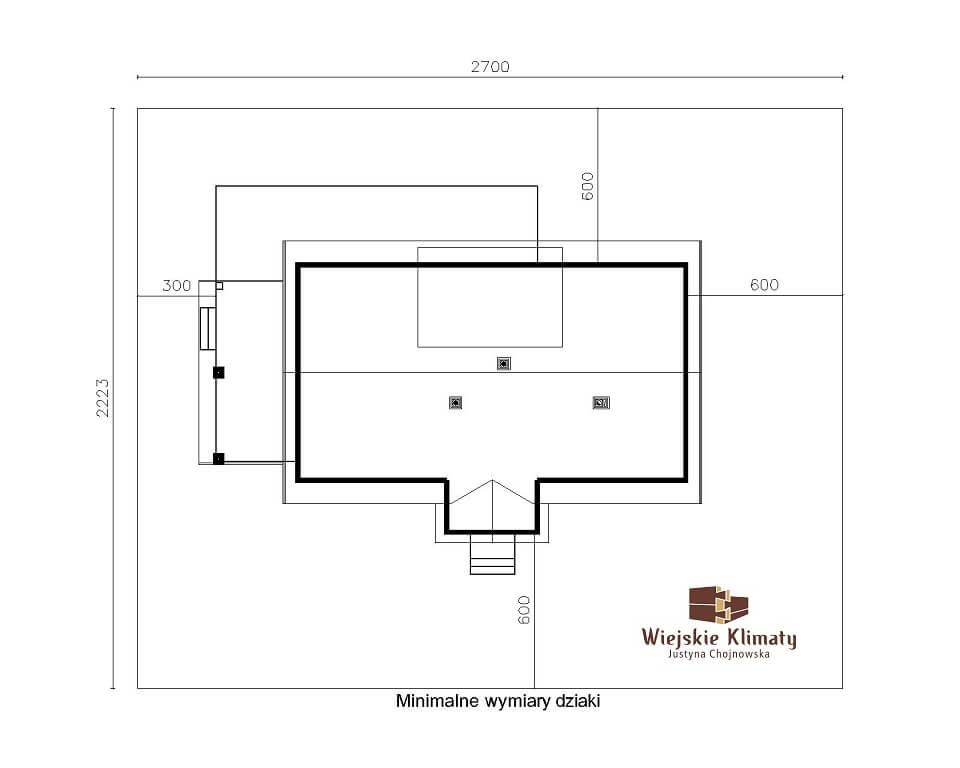 projekt domu z bali drewnianych listek 1,8