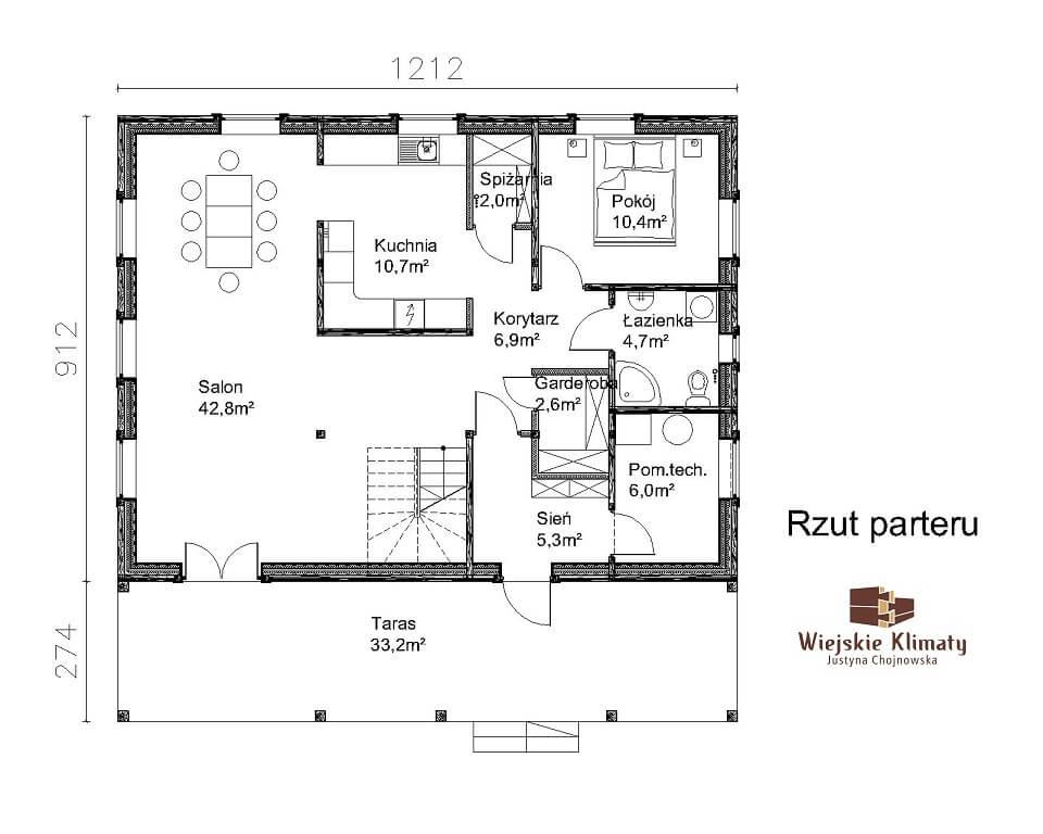 projekt domu z bali westka 1,1
