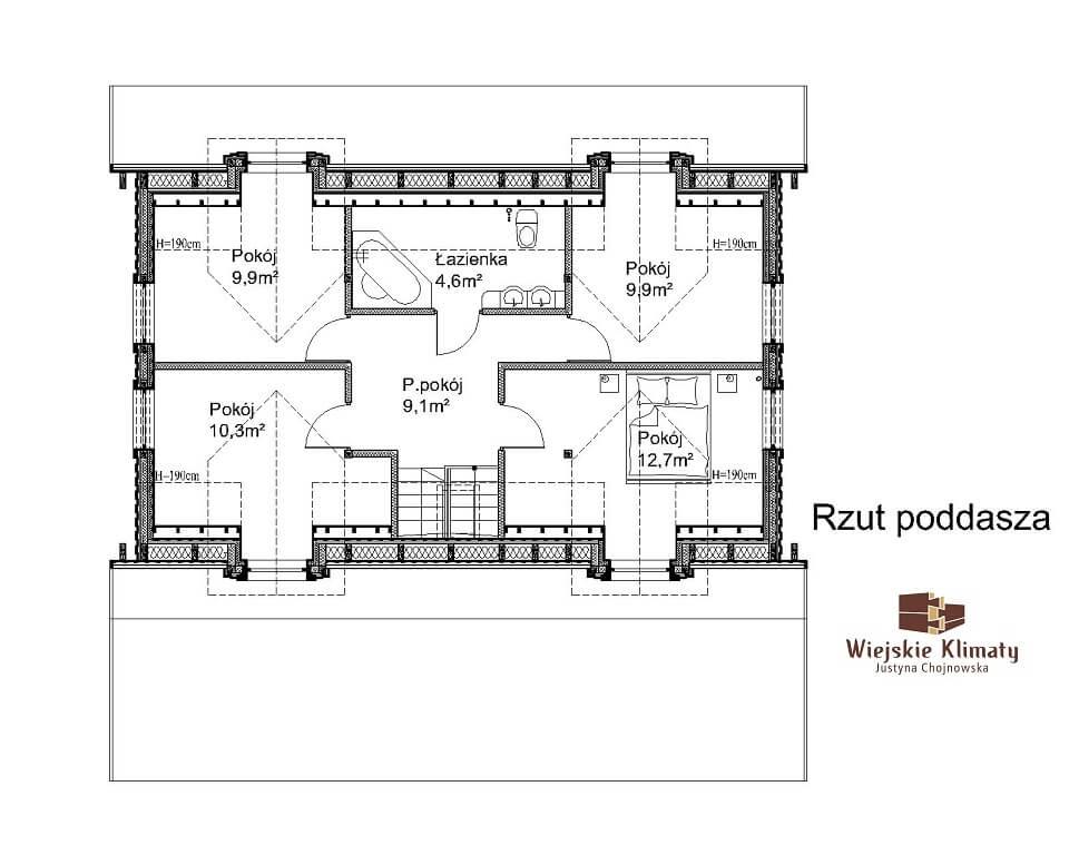 projekt domu z bali westka 1,2