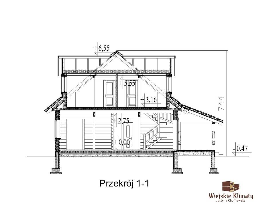 projekt domu z bali westka 1,7