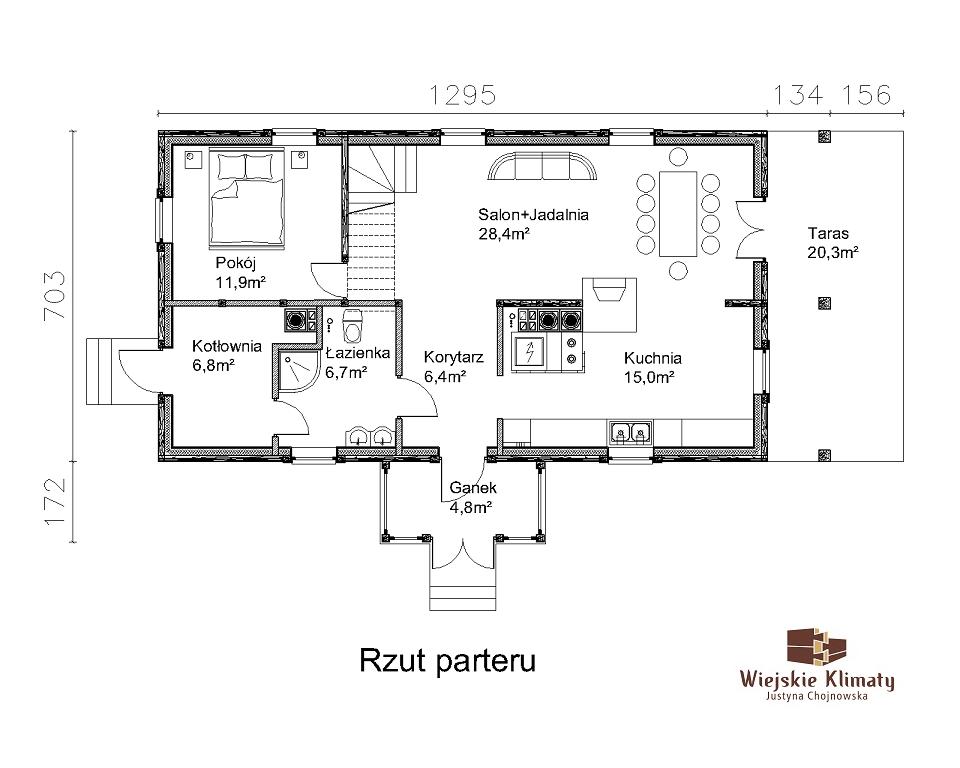 projekt domu z bali drewnianych palinocka 1,1