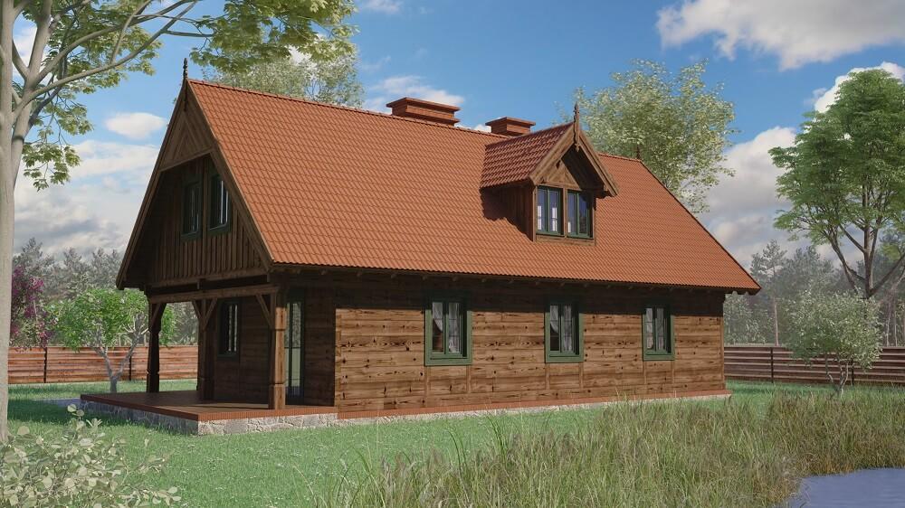 projekt domu z bali drewnianych palinocka 1,10