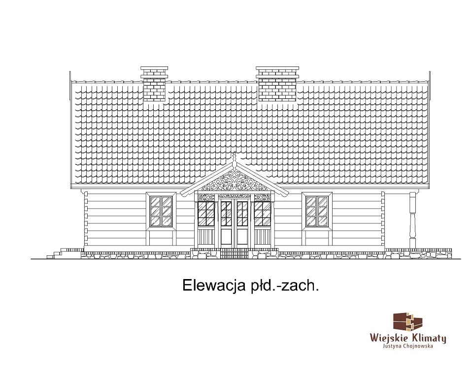 projekt domu z bali drewnianych palinocka 1,3