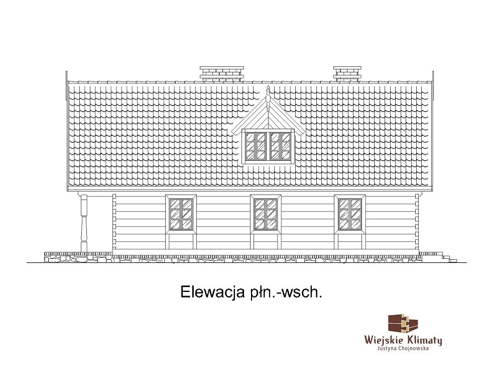 projekt domu z bali drewnianych palinocka 1,4