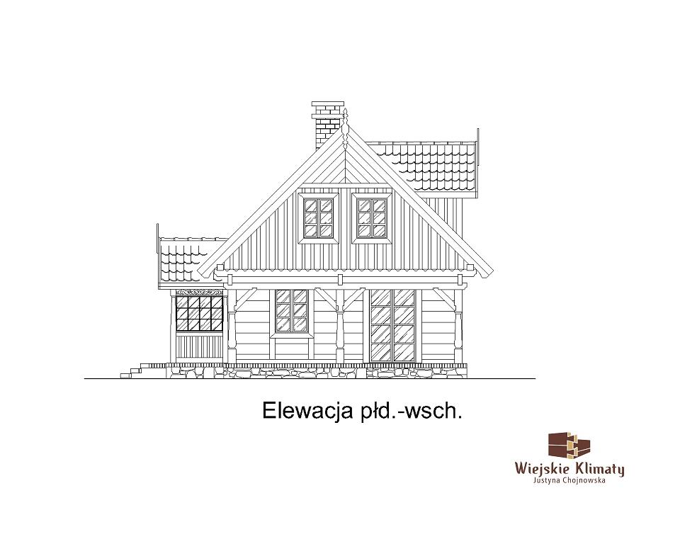 projekt domu z bali drewnianych palinocka 1,5