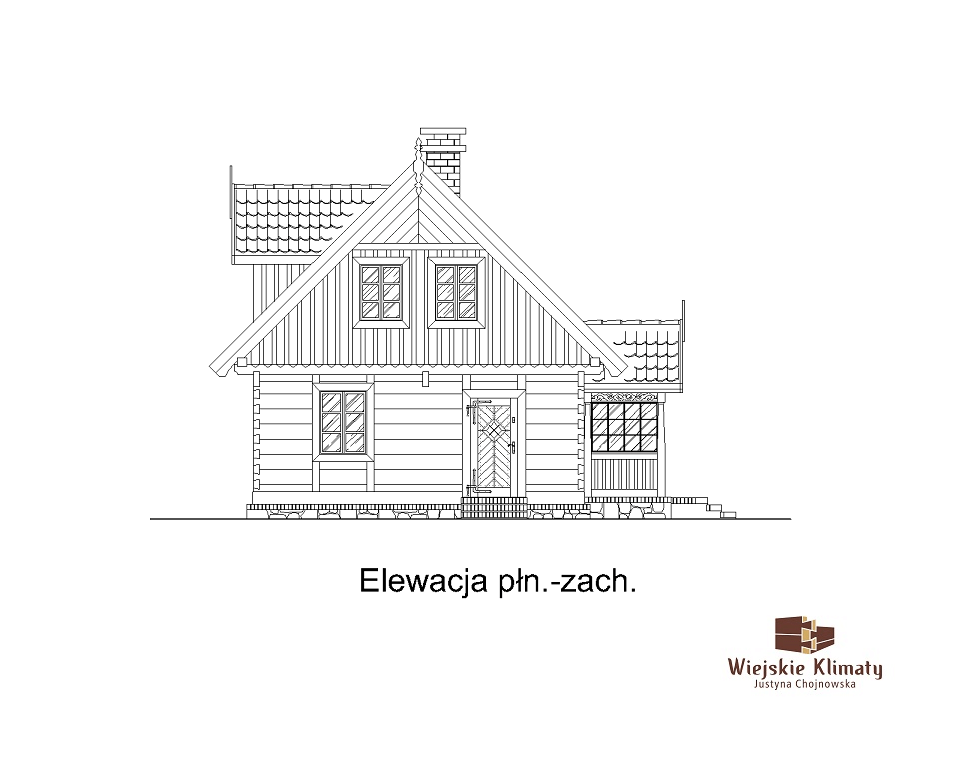 projekt domu z bali drewnianych palinocka 1,6