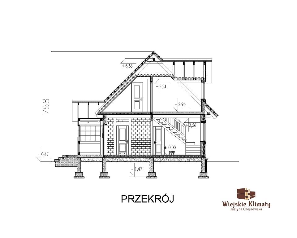 projekt domu z bali drewnianych palinocka 1,7