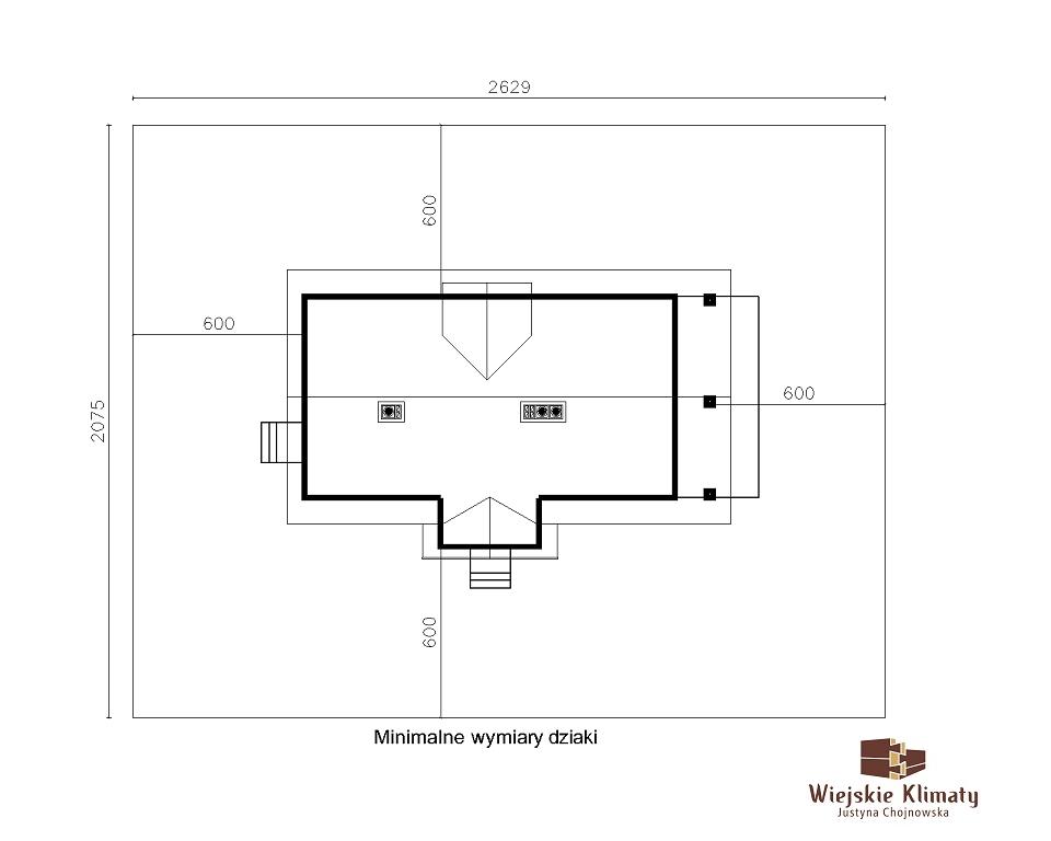 projekt domu z bali drewnianych palinocka 1,8