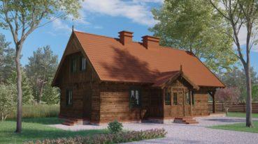 projekt domu z bali drewnianych palinocka 1,9