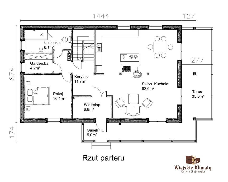projekt domu drewnianego ziele 2,2