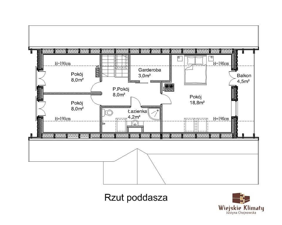 projekt domu drewnianego ziele 2,3