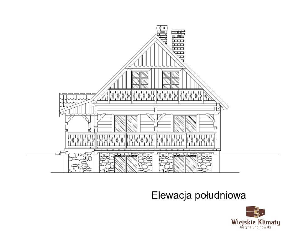 projekt domu drewnianego ziele 2,6