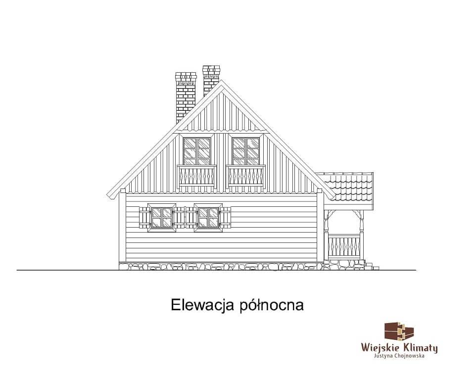 projekt domu drewnianego ziele 2,7