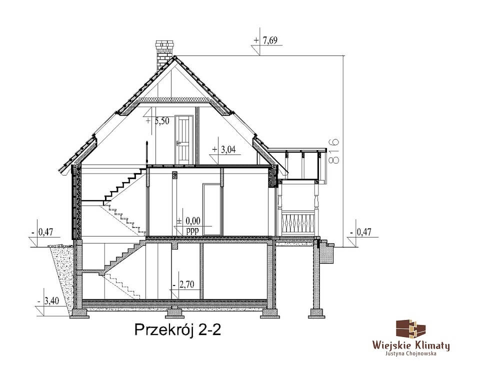 projekt domu drewnianego ziele 2,8
