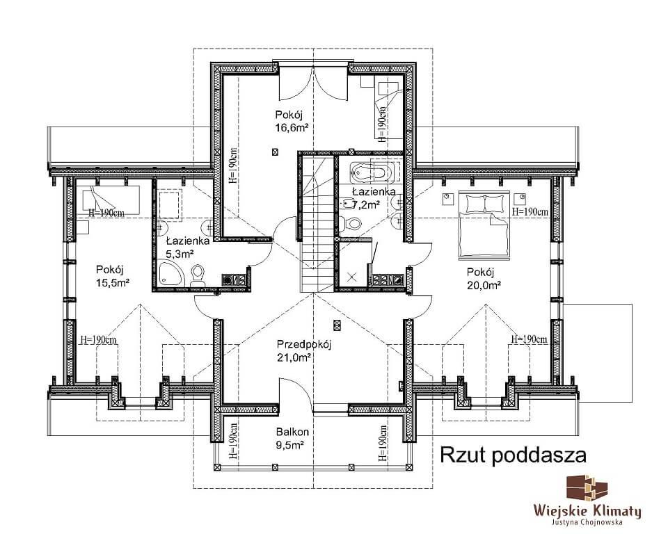 projekt domu szkieletowego krynica 1,2