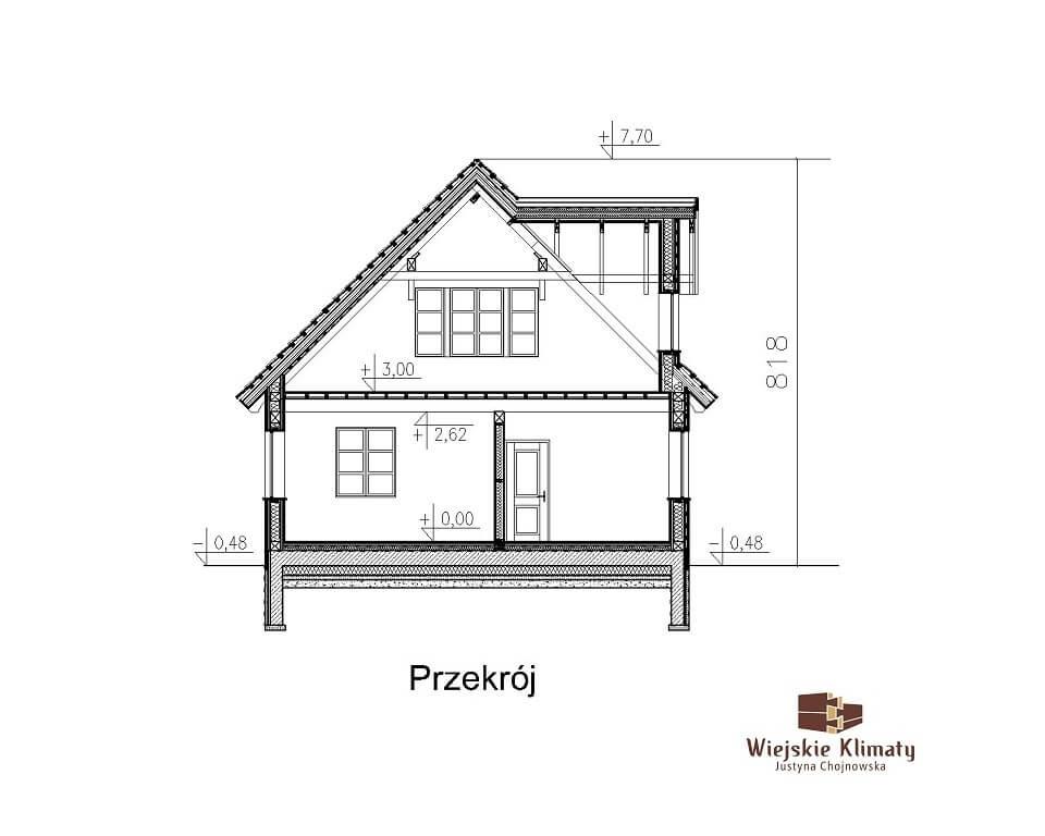 projekt domu szkieletowego krynica 1,7