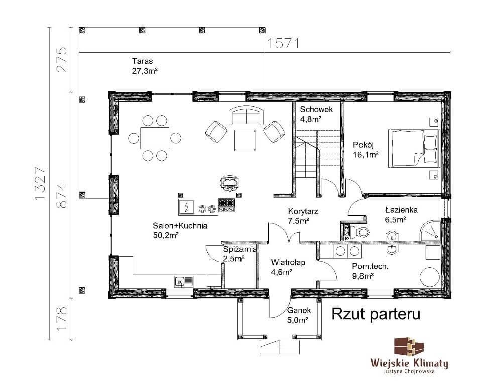 projekt domu z bali ziele 1,1