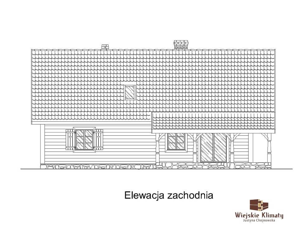 projekt domu z bali ziele 1,4