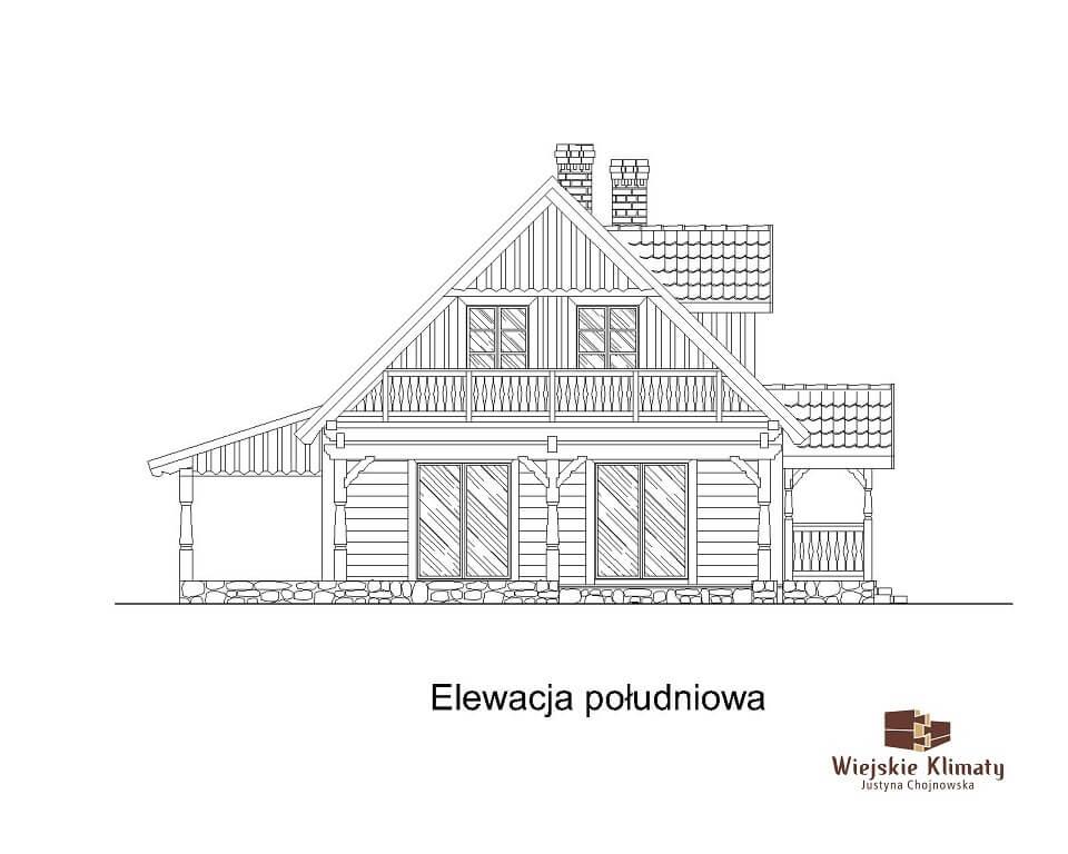 projekt domu z bali ziele 1,6