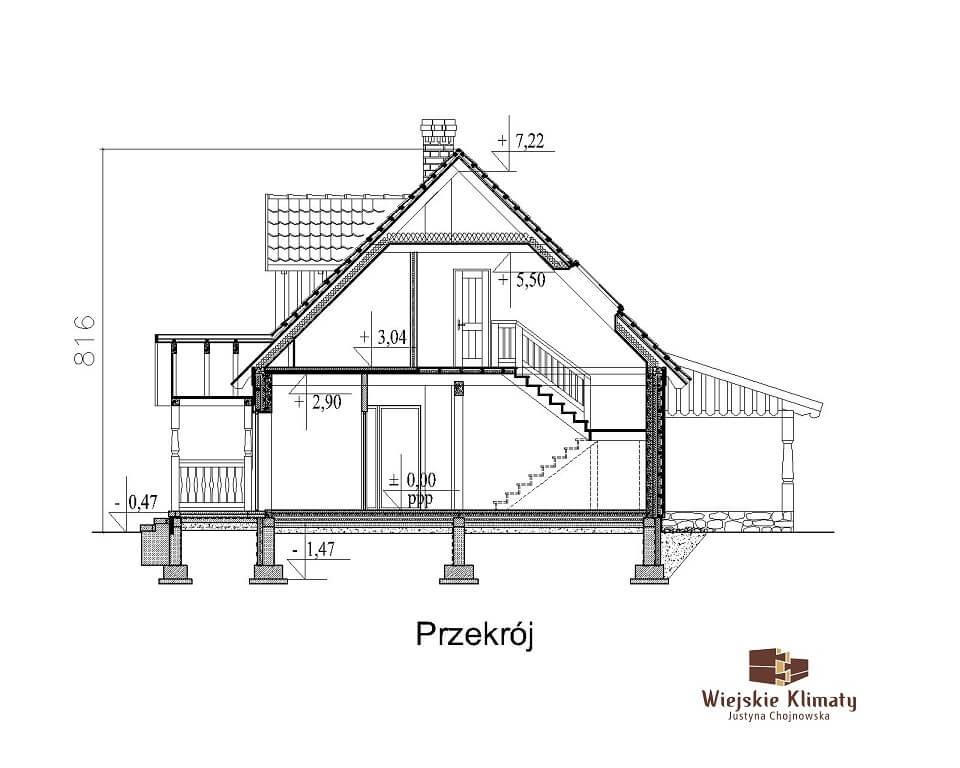 projekt domu z bali ziele 1,7