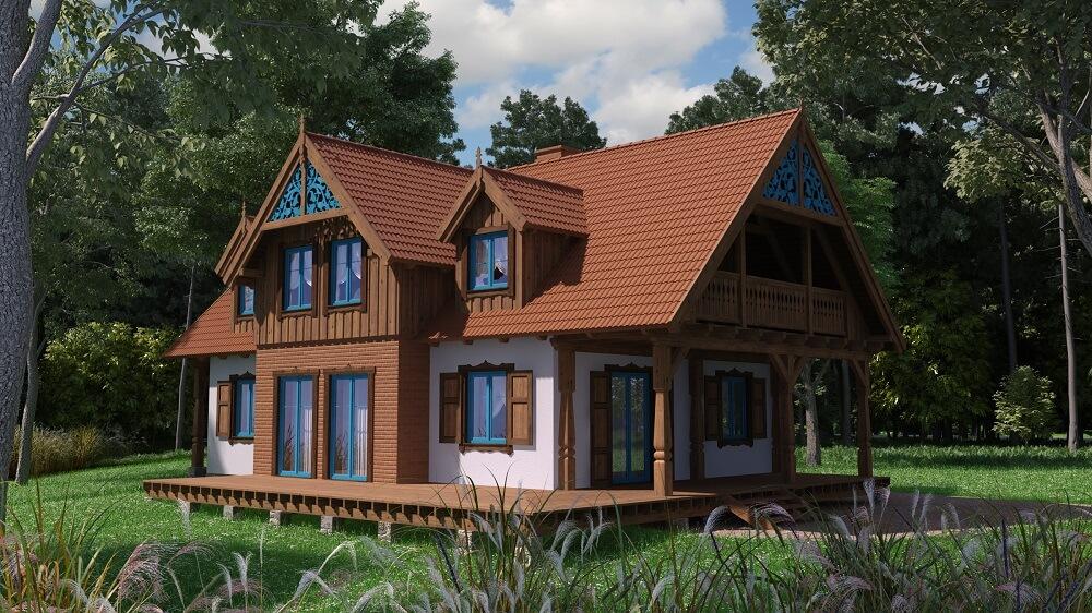 projekt pięknego murowanego domu mazurskiego