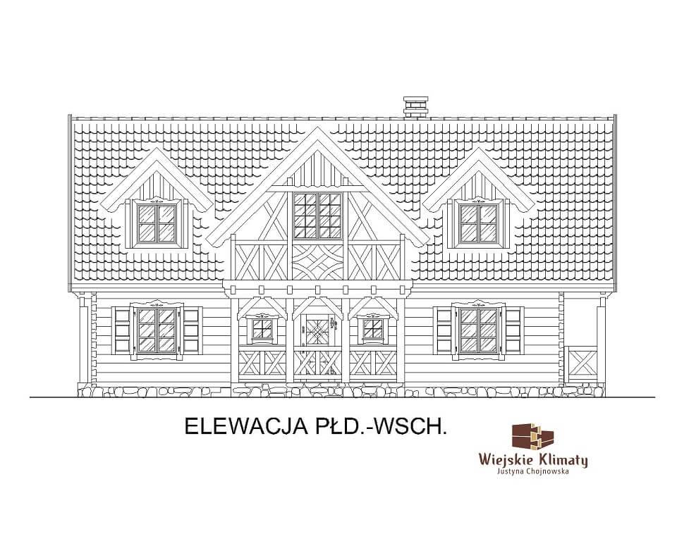 projekt domu drewnianego z dużym salonem